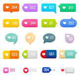 Set of Like Counter Notification Icons on Ribbons and Labels Royalty Free Stock Images