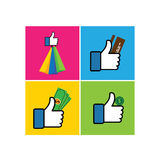 Set of like hand symbols of thumbs up with shopping bags - vecto. R icon. This also represents internet shopping, e-commerce & m-commerce, online transaction Royalty Free Stock Image