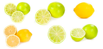 Set of limes and lemons Stock Photos
