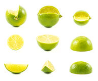 Set of limes on a white background Stock Photo