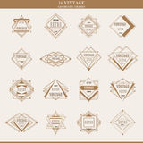 Set of line abstract geometric logotypes or borders Stock Photo