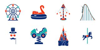 Set of line art amusement park ride icons. Vector illustration stock illustration