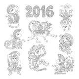 Set of line art authentic decorative monkey - Royalty Free Stock Image