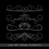 Set of line art border elements for design Stock Image