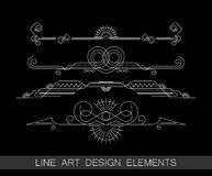Set of line art border elements for design Royalty Free Stock Photos