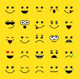 Set of line art emoticons or emoji icons yellow. Smile yellow icons vector illustration isolated on yellow background. Concept for World Smile Day smiling card Stock Photos