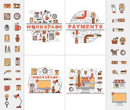 Set line art flat icons. Set of line art flat icons of elements of the personal workplace, safe and convenient electronic payments and online purchases Stock Photos