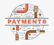 Set line art flat illustration of the concept convenient and secure payments. Line art flat illustration of the concept of convenient and secure payments, cash Stock Images