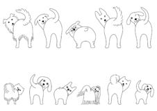 Set of line art funny dogs showing their butts. Small dogs and Large dogs in two rows royalty free illustration