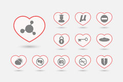 Set of line art hearts with  miscellaneous mixed icons Royalty Free Stock Photo