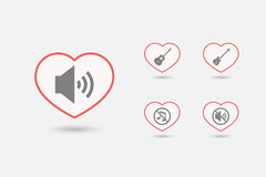 Set of line art hearts with  sound and music related icons Royalty Free Stock Photos