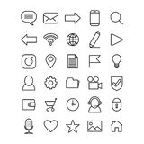Set of line art icons for mobile phone or website interface royalty free illustration
