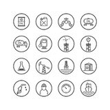 Set of line art icons on the oil industry in a round frame stock illustration