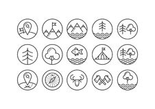 Set of line art icons on the theme of tourism in the round frame stock illustration