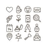 Set of line art icons on the theme of the Valentine`s Day royalty free illustration