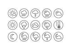Set of line art icons on the weather theme in the round frame vector illustration
