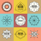 Set line art insignia retro vintage design elements Stock Images