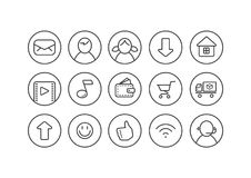 Set of line art internet theme icons for a web page in a round frame royalty free illustration
