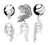 Set of line art portraits Royalty Free Stock Photos