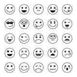 Set of line art round emoticons or emoji icons black. Smile icons vector illustration isolated on white background. Concept for World Smile Day smiling card or Royalty Free Stock Photos