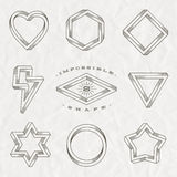 Set of line art tattoo style impossible shapes. On a crumpled paper background Royalty Free Stock Photo