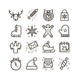 Set of line art vector icons on the theme of Christmas holidays vector illustration