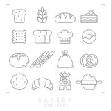 Set of line bakery icons. Bread slice, wheat, bun, cake with cherry, biscuit, chef heat, donut, baguette, flour sack, Stock Image