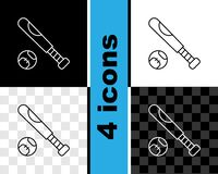 Set line Baseball bat with ball icon isolated on black and white, transparent background. Vector