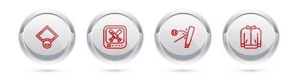 Set line Baseball field, Monitor with baseball game, bat and t-shirt. Silver circle button. Vector