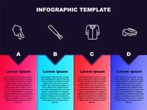 Set line Baseball glove, bat, t-shirt and boot. Business infographic template. Vector