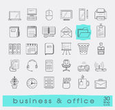 Set of line business and office icons. Stock Image