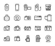 Set of Line Camera Icons on White Background. Smartphones, Action, Digital and Film Photo cameras Legendary Brands. Set of Line Camera Icons on White Background Royalty Free Stock Photos