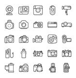 Set of Line Camera Icons on White Background. Smartphones, Action, Digital and Film Photo cameras Legendary Brands. Set of Line Camera Icons on White Background Royalty Free Stock Photography