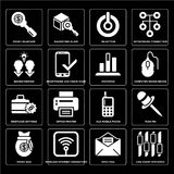 Set of Line Chart Statistics, Open Mail, Money Bag, Old Mobile Phone, Briefcase Settings, Brainstorming, On Button, Searcher icons Stock Photo