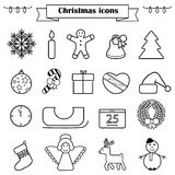 Set of line Christmas icons isolated. Set of line Christmas icons and decorations, new year isolated contour objects stock illustration
