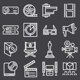 Set of line cinema icon. Vector illustration Stock Images