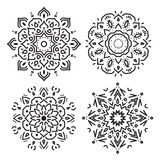 Set of line circle ornaments in vector, isolated black on white Royalty Free Stock Photos