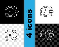 Set line Clock icon isolated on black and white, transparent background. Time symbol. Vector