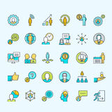 Set of line color people icons for business and finance Royalty Free Stock Photography