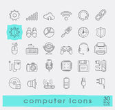 Set of line computer icons. Stock Photos