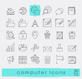 Set of line computer icons. Royalty Free Stock Images