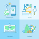 Set of line concept icons for apps development, business, finance. Set of line concept icons with flat design elements. Icons for business, finance, banking Stock Image