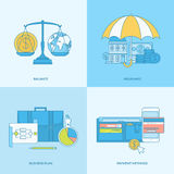 Set of line concept icons for business and finance. Set of line concept icons with flat design elements. Icons for business, finance, banking, payment method Royalty Free Stock Photos