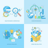 Set of line concept icons for business and marketing. Set of line concept icons with flat design elements. Icons for business consulting, market research stock illustration