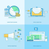 Set of line concept icons for digital marketing Royalty Free Stock Photos