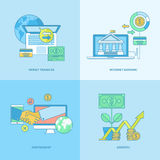 Set of line concept icons for finance. Set of line concept icons with flat design elements. Icons for business, finance, banking, internet banking Royalty Free Stock Images