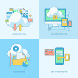 Set of line concept icons for internet security Stock Photography
