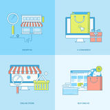 Set of line concept icons for online shopping Royalty Free Stock Photos