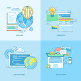 Set of line concept icons for web development and social media Stock Photo