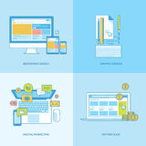 Set of line concept icons for web and graphic design, internet marketing vector illustration